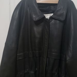Trendy vintage leather coat